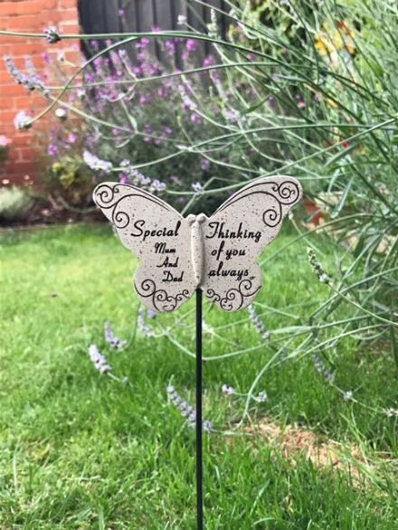 Butterfly Grave Marker ~ Special Mum and Dad